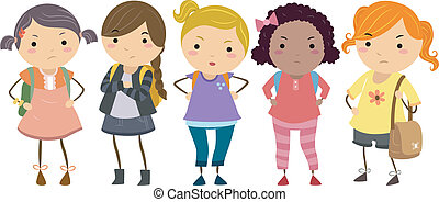 Young Female Bullies - Stickman Illustration Featuring a...