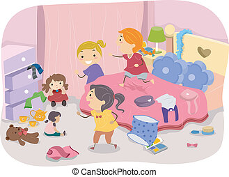 Girls Room - Illustration of Girls Playing in a Typical...
