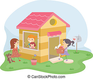 Playhouse - Illustration of a Group of Girls Playing House