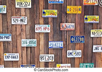 Vehicle registration on old wood