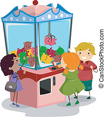 Claw Machine - Stickman Illustration Featuring Kids Playing...