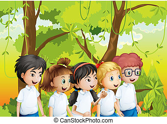 Five students at the forest - Illustration of the five...