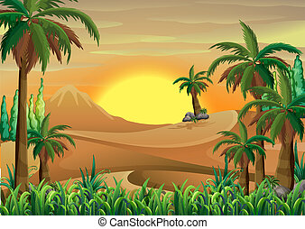 A forest at the desert - Illustration of a forest at the...