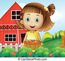 A girl harvesting at the strawberry farm - Illustration of a...