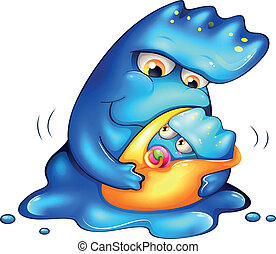 A caring blue monster - Illustration of a caring blue...