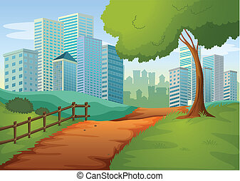 A pathway going to the tall buildings - Illustration of a...