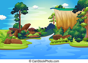 A forest with a deep river - Illustration of a forest with a...