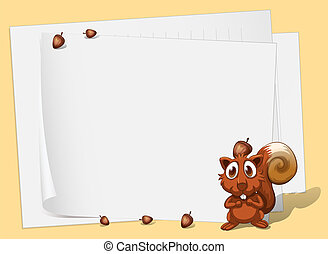 A squirrel in front of the empty papers - Illustration of a...