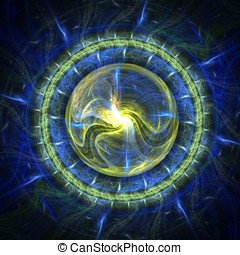 Energy Sphere Abstract - Beautiful, blue and yellow orb...