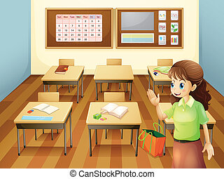 A teacher inside the classroom - Illustration of a teacher...