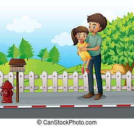 A father and a daugther at the road - Illustration of a...