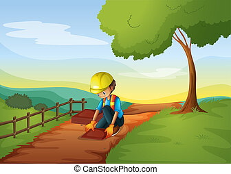 An engineer fixing the road - Illustration of an engineer...