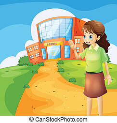 A teacher in front of the school building - Illustration of...