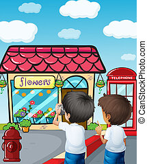 Two boys taking photos near the flower shop - Illustration...