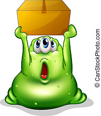 A green monster carrying a box