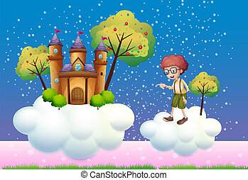 Clouds with a boy and a castle - Illustration of the clouds...