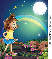 A kid amazed by the sight of the rainbow and the fullmoon -...
