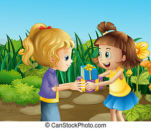 Two friends exchanging gifts outdoor - Illustration of the...