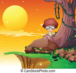 A boy hiding near the roots of the giant tree - Illustration...