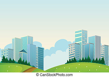 Tall buildings near the hills