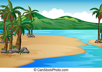 A beach with palm trees - Illustration of a beach with palm...