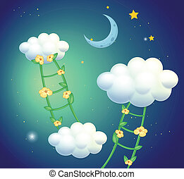 Green ladders with flowers going to the clouds -...