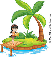 A girl holding a pail above the wooden diving board