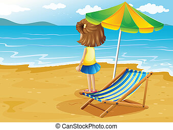 A girl at the beach with a foldable chair and an umbrella -...