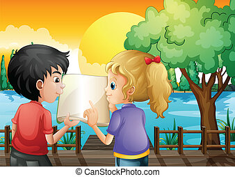 A girl and a boy discussing at the wooden bridge -...