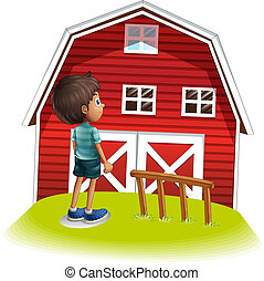 A boy standing in front of the red farmhouse - Illustration...