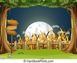 A forest with wooden arrowboards - Illustration of a forest...