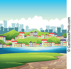 A river near the tall buildings - Illustration of a river...