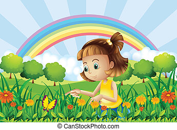 A girl at the garden with a rainbow at the back -...