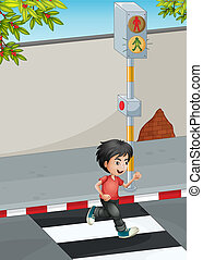 A boy running while crossing the street - Illustration of a...