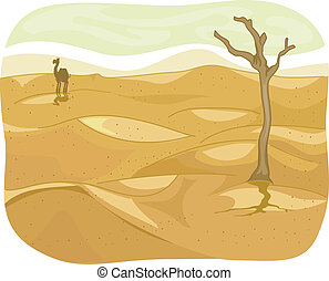 Desert - Illustration of a Lonely Desert with a Camel...