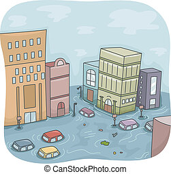 Flooded City - Illustration of a Flooded City with Cars...