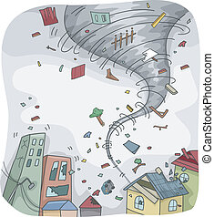 Tornado - Illustration of a Huge Tornado Destroying the...