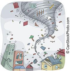 Tornado - Illustration of a Huge Tornado Destroying the...