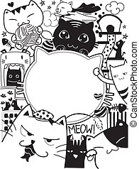 Doodle Cats - Black and White Doodle Illustration Featuring...