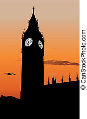 The Big Ben - Vector silhouette of Big Ben at sunset, one of...