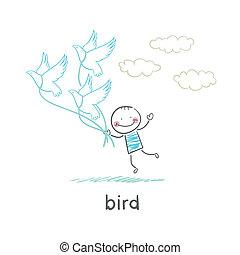 Bird and man