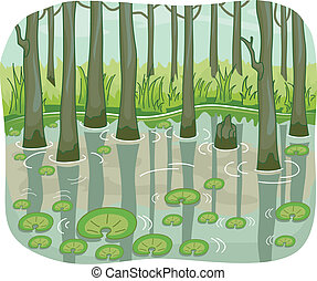 Swamp - Illustration of a Swamp with Lotus Leaves Floating...
