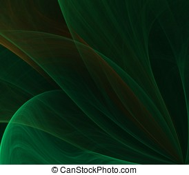 Flow Leaf Abstract - Flowing greens, into layered leaf...