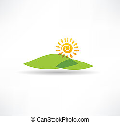 Sun and mountains icon
