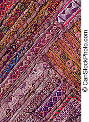 Rajasthani, indianas, patchwork, parede, pano