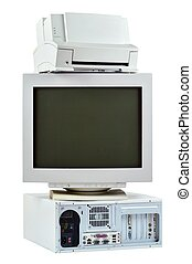 Obsolete PC computer, printer and CRT monitor - Obsolete PC...