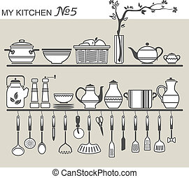 Kitchen utensils on shelves 5