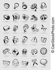 media icons on buttons. Vector illustration.