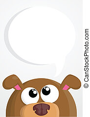 Cute cartoon dog with speech bubble