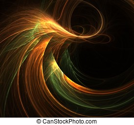 Flow and Space Abstract - Gold and green, flowing fibrous...
